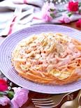 春キャベツと新玉ねぎでピンクの明太クリームスパゲティ