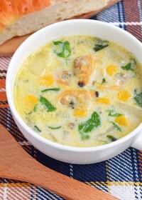 『【常備食材で簡単】ぽかぽか♪あさりの豆乳スープ』