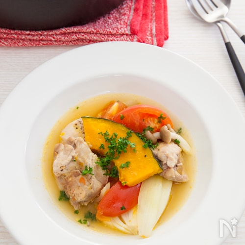 【無水調理】鶏と夏野菜の蒸し煮