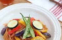 おうちカフェ♪夏野菜たっぷりナポリタン