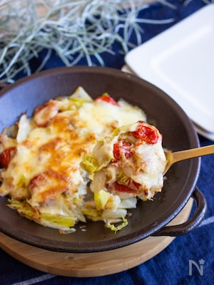 調味料なし&ヘルシー♪白菜トマトのおかかチーズ焼・栄養計算付