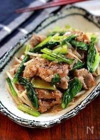『【豚肉と小松菜ともやしのしょうが醤油炒め】ボリュームおかず!』
