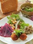 ファラフェル(ひよこ豆のコロッケ)豆腐ごまソース添え