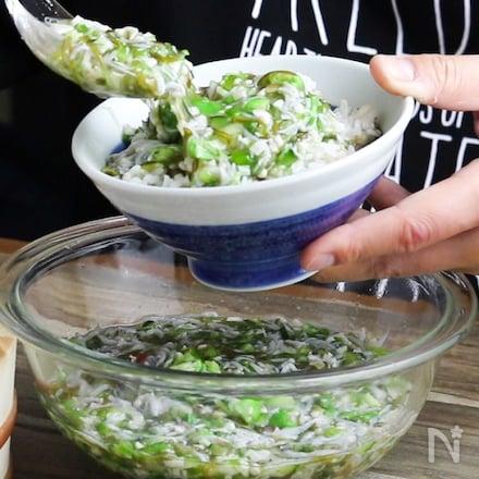 【飲む夏野菜】しらすと夏野菜の絶品とろろ!ご飯と麺のお共に♪