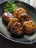 レンコンとシイタケの豚ひき肉の挟み甘辛煮