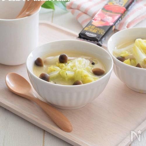 宝幸ロルフ レンチン10分♪白菜としめじの明太子チーズスープ