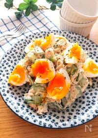 『切り干し大根とツナと半熟卵のマヨ粒マスタードサラダ♡』