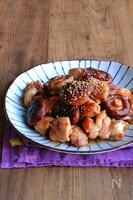 鶏肉と椎茸の梅オイバター照り炒め