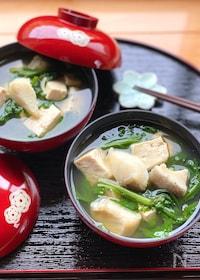 『体の芯から温まる♡たらと春菊と豆腐の鍋風スープ』