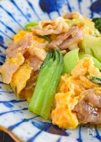『ちんげん菜と豚肉たまごの中華風炒め』