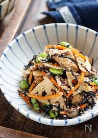 『お豆腐とひじきの無水煮【#水切り不要#レンジ#コンビニ風】』