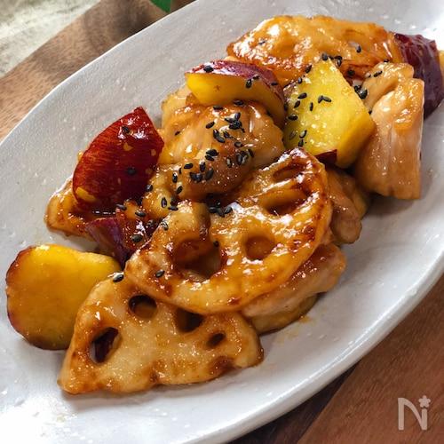 さつまいもと蓮根と鶏肉の甘酢炒め☆食感が楽しい♩絶品おかず