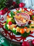 クリスマスリースサラダ【明太豆腐ディップ&明太トースト添え】