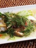 白身魚のビール蒸しディル風味
