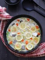 タラと冬野菜のレモンミルク鍋