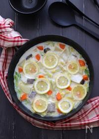 『タラと冬野菜のレモンミルク鍋』