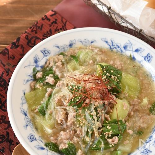 チンゲン菜と豚ひき肉の春雨ごま味噌スープ