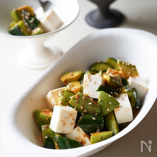 【うま辛・麻辣風味】豆腐とアボカドときゅうりのサラダ