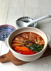 『『美ボディ鍋』*鯖缶と大豆のトマトチリ鍋*』