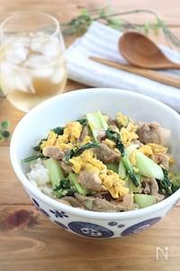 ランチに◎豚肉と青梗菜の卵とじ丼☆ゆずこしょう風味