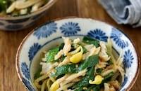 レンジで*豆もやしとニラとサラダチキンの中華風ごまあえ