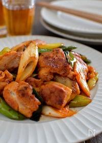 『鶏肉とねぎのキムチ炒め。ご飯が進む中華おかず♪』