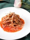 ヘルシーベジ麺!手裂き舞茸のトマトパスタ