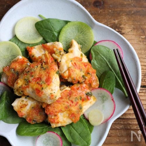 ビタミン野菜と鶏むね肉で元気とキレイ♪鶏天風フライパン焼き