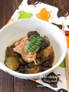 鶏もも肉となすの煮物・山椒風味。