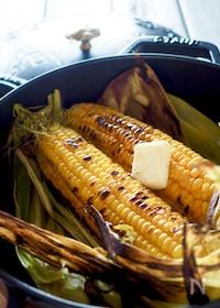 『【ストウブ鍋で簡単料理】お醤油香る♪屋台の焼きとうもろこし』