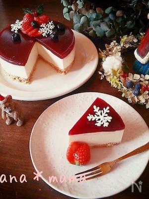 基本のレアチーズケーキで♪濃厚リッチなクリスマス♪