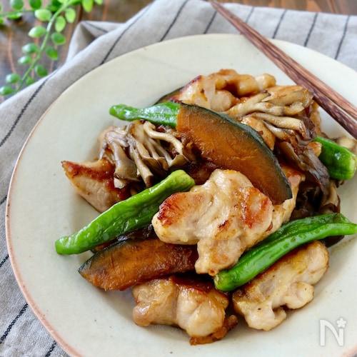 鶏肉とかぼちゃと舞茸のめんつゆ炒め