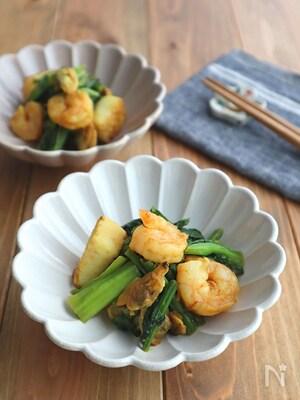 簡単☆お弁当にも◎シーフードミックスと小松菜のカレー炒め