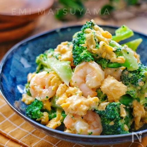 *ブロッコリーとむき海老と卵のオイマヨサラダ*