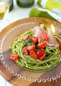 『簡単*生ハムとトマトのジェノベーゼパスタ』