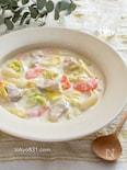 鶏肉と春キャベツのクリームシチュー。ルー不要。おかずスープ。
