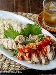 【炊飯器で】塩こんぶごはん&トマト玉ポン酢蒸し鶏