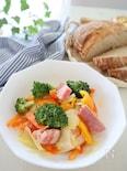 レンジで5分!カラフル野菜のマスタードオイル蒸し