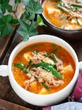 豆腐とひき肉のうま辛♡スタミナ味噌スープ【#包丁不要】