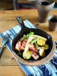 LODGEスキレットで!厚切りベーコンとお好み野菜のレモン炒