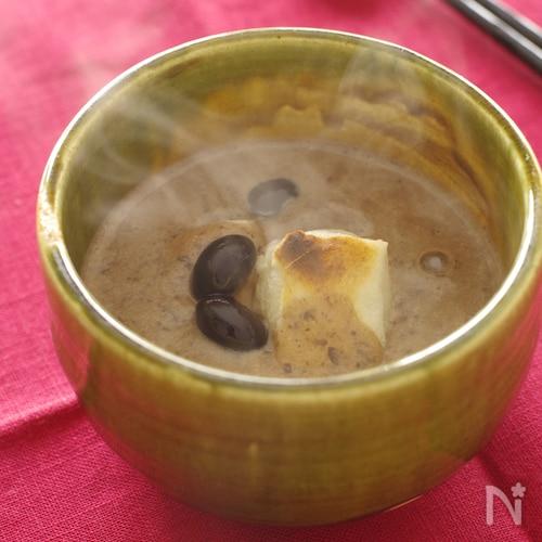 豆好きさんの黒豆汁粉。