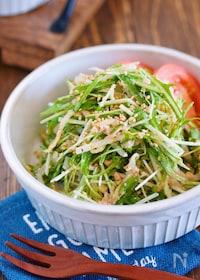 『抱えて食べたい♪『水菜ともやしとツナのごまマヨサラダ』』