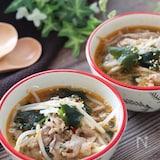 食べる大満足スープ♡牛こまともやしとわかめのピリ辛中華スープ