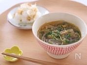 豆苗と豚キムチの春雨スープ