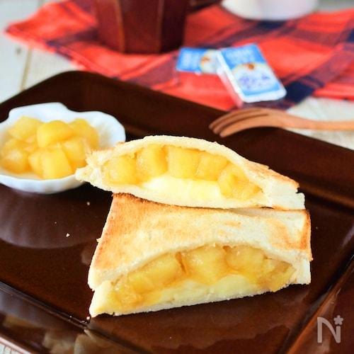 あつあつクリームチーズとリンゴのホットサンド