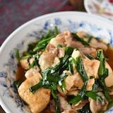 豚バラにらの旨辛豆腐チャンプルー