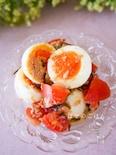 ゆで卵がボリュームアップ☆トマト塩昆布の味わいサラダ♪