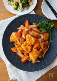 『『揚げない!やわらか酢鶏』#鶏胸肉#簡単#ケチャップ』