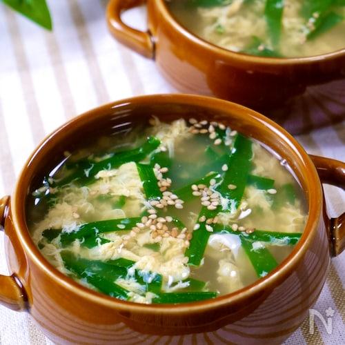 簡単おいしい♡『ニラ玉スープ』ほのかに香るにんにく風味♩