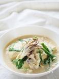 すくい豆腐の豆乳スープ
